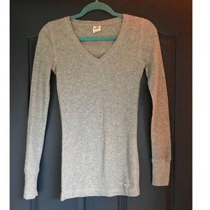 PINK Victoria Secret Gray Long Sleeve V-neck